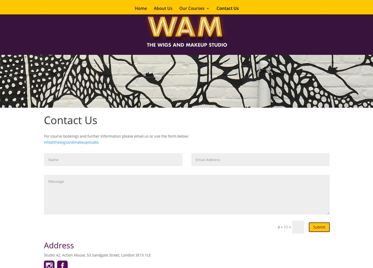 wam web contact page design