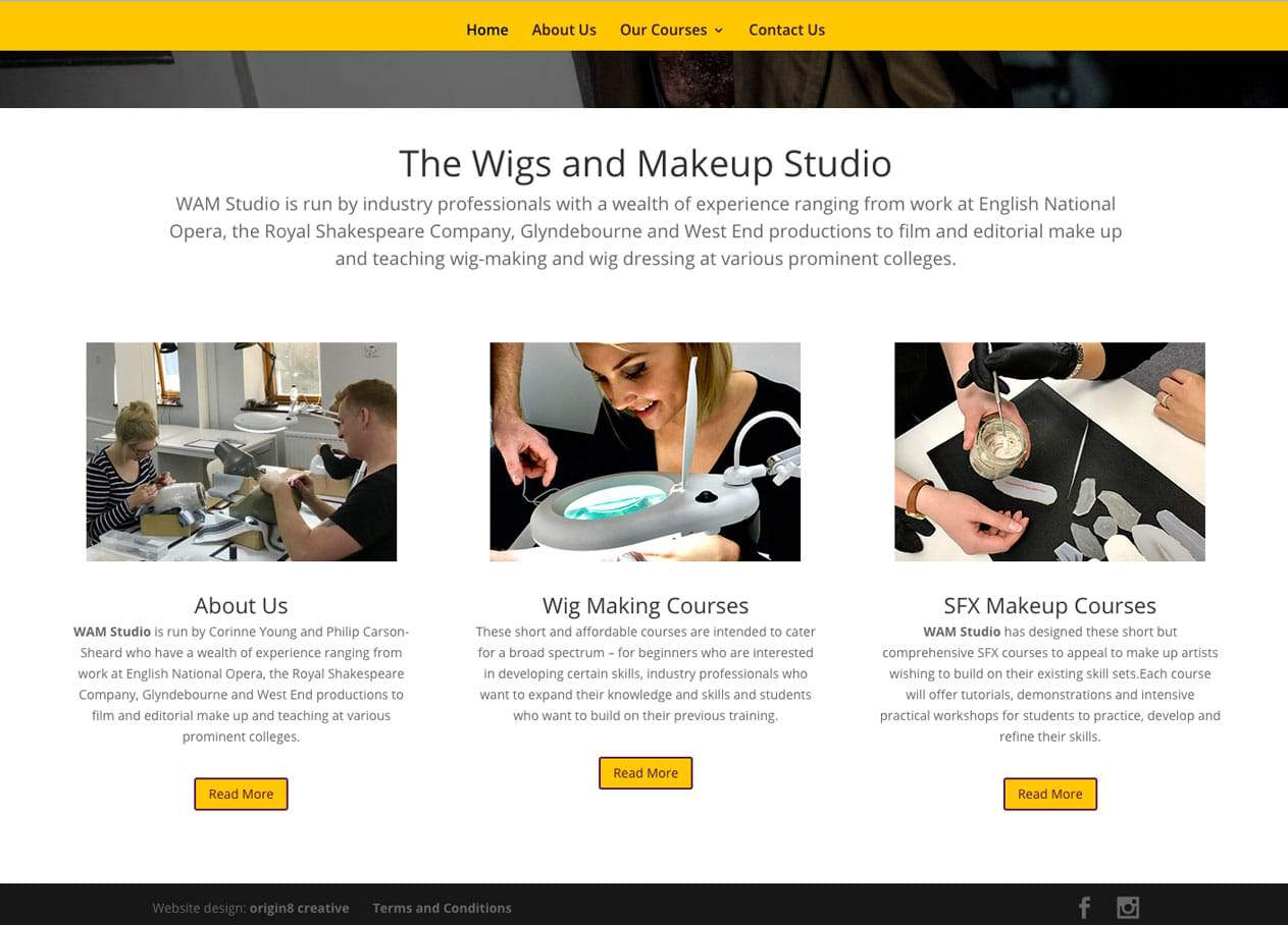 wam website home page design