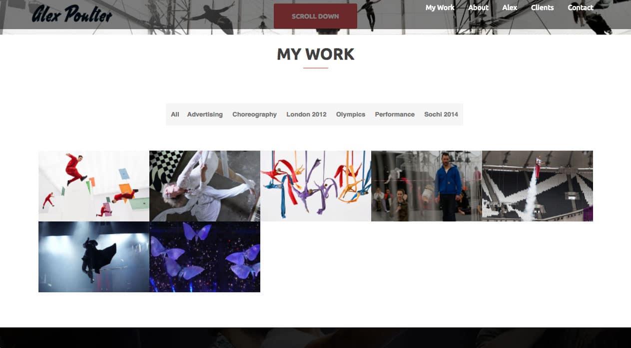 Alex Poulter Home Page work design