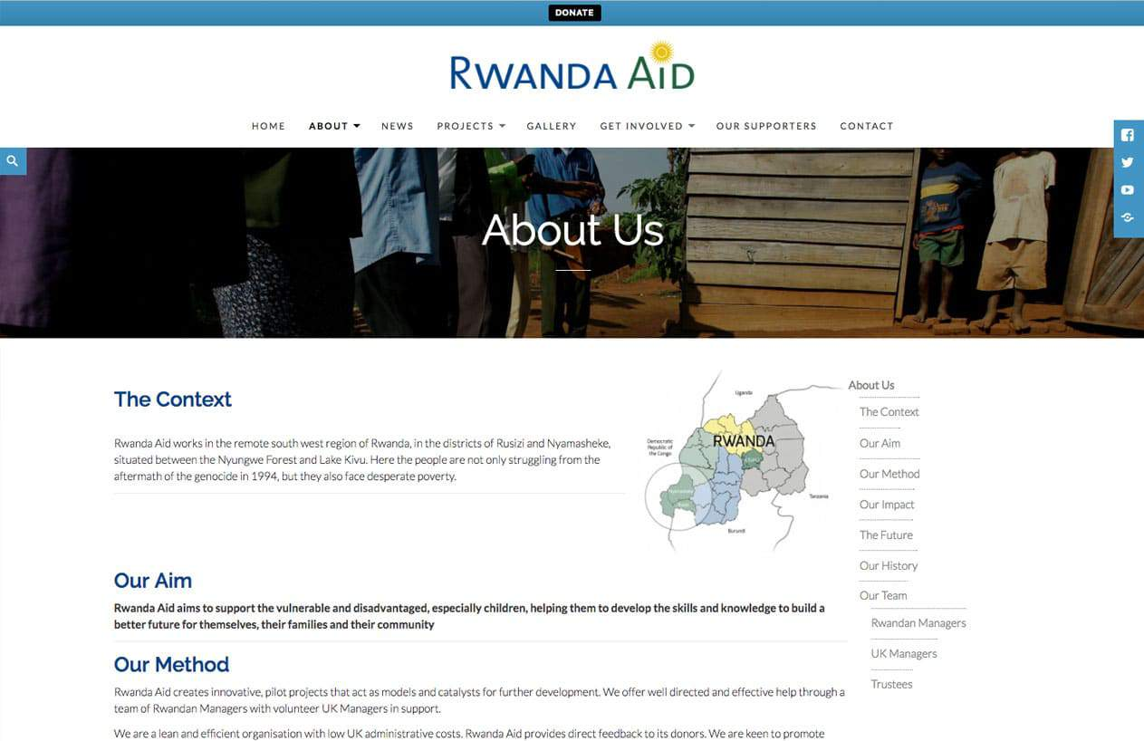 Rwanda Aid website design about