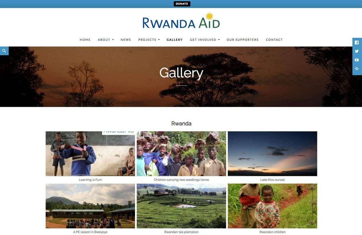 Rwanda Aid web design gallery