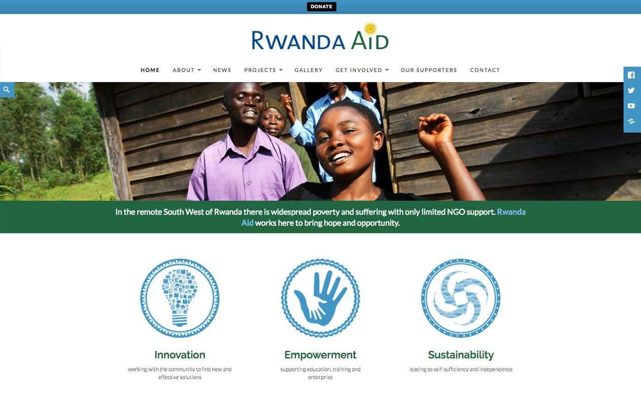 Rwanda Aid web design home