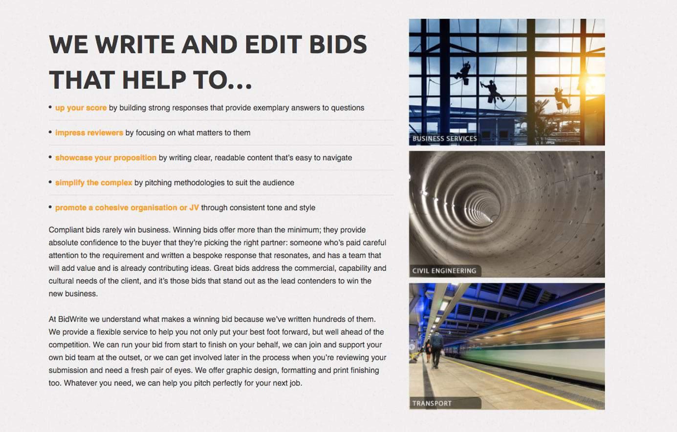 Bidwrite web design page