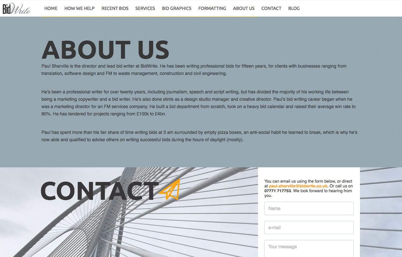 Bidwrite website design about