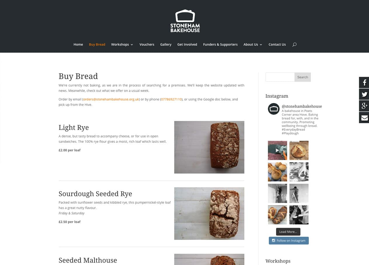 Website design bread page