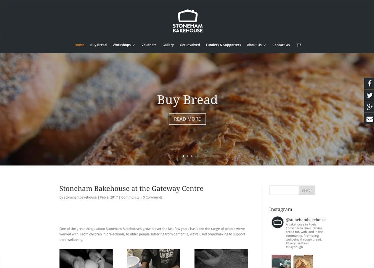 Stoneham Bakehouse homepage