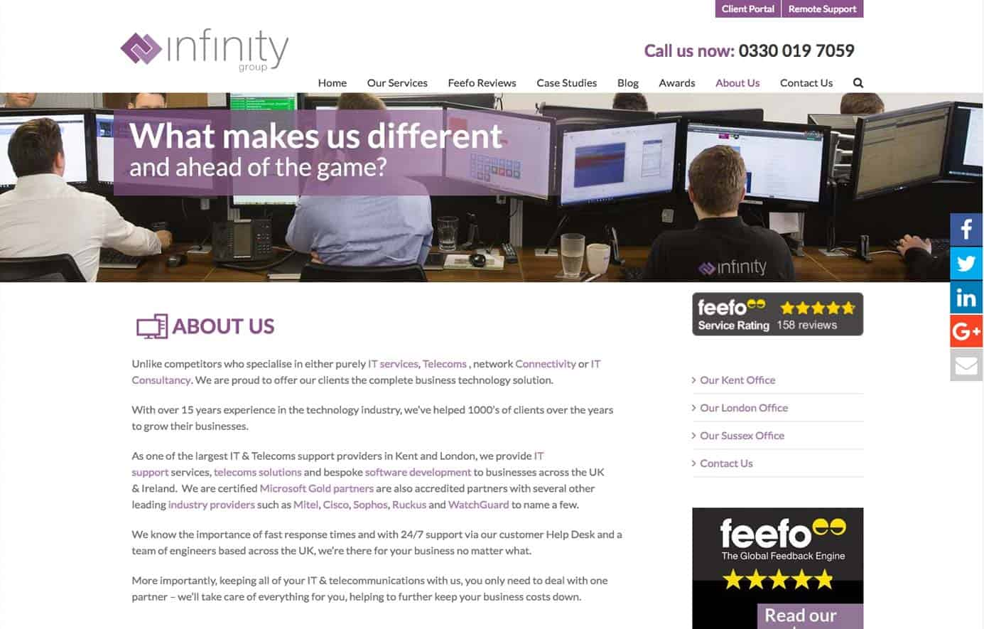 Infinity Group About Us web design
