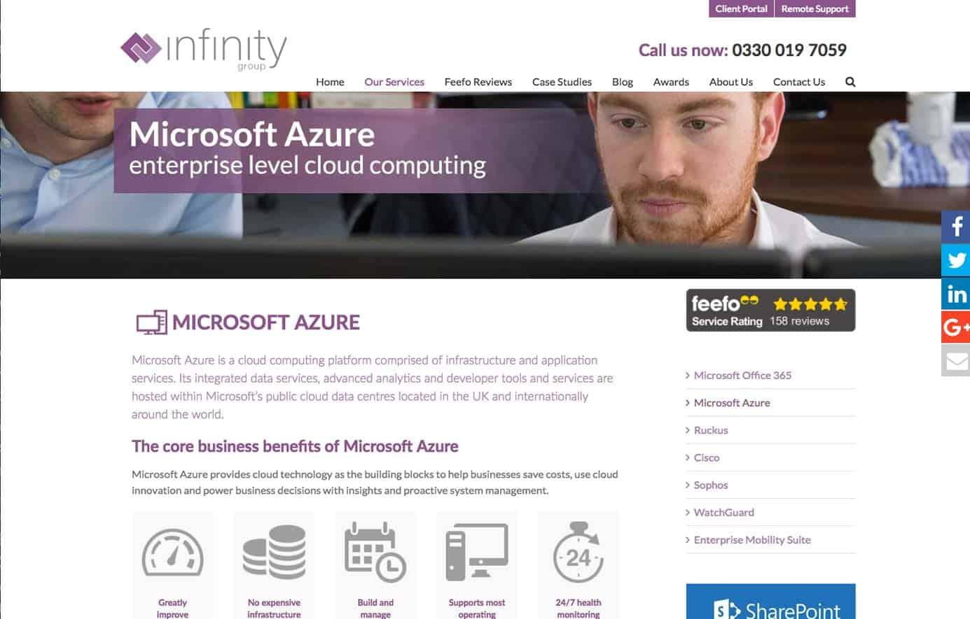 Infinity Group Azure website design