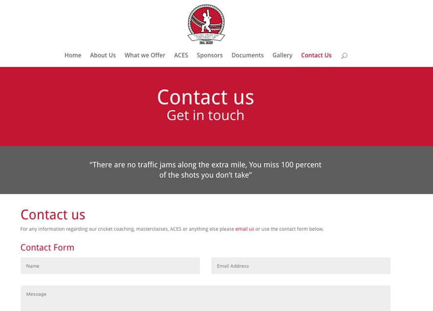 Sussex Cricket coaching web design contact