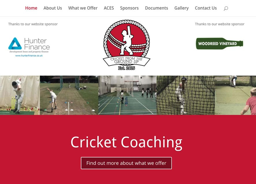 Sussex Cricket coaching web design home