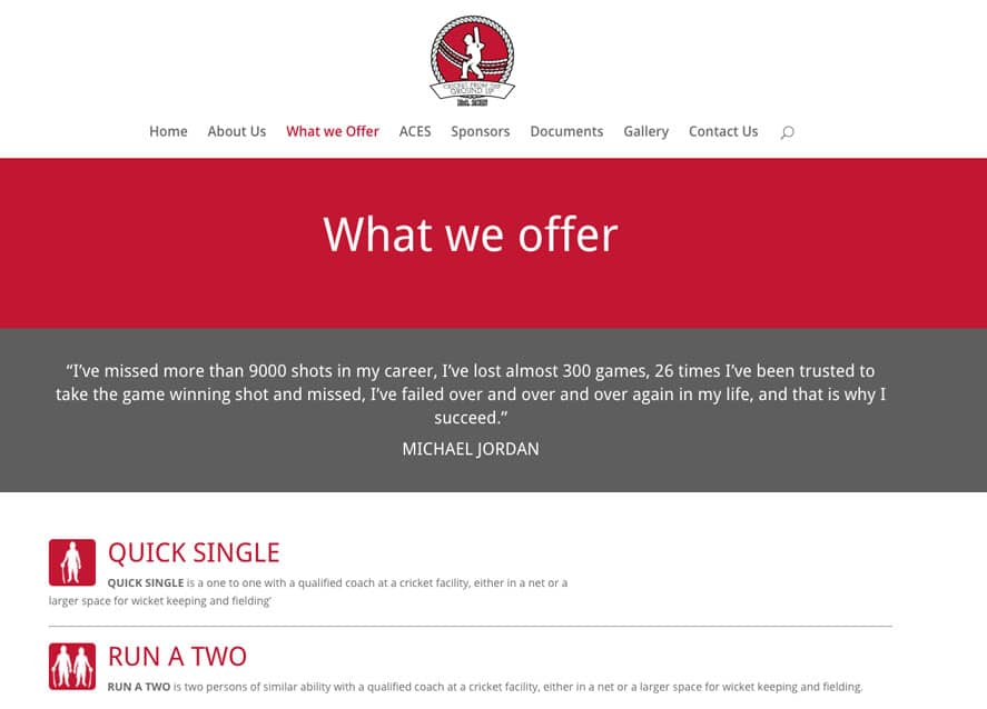 Sussex Cricket coaching web design offer