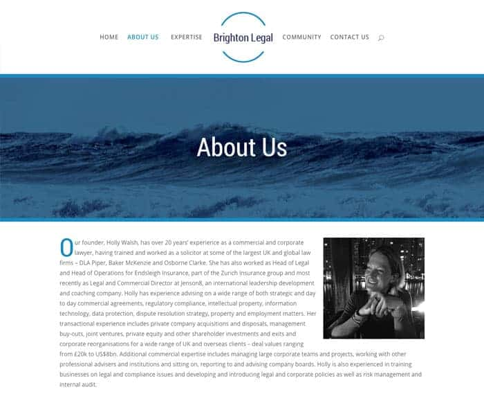 Brighton Legal About Us page web design
