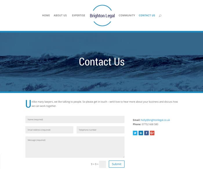 Brighton Legal Home contact web design