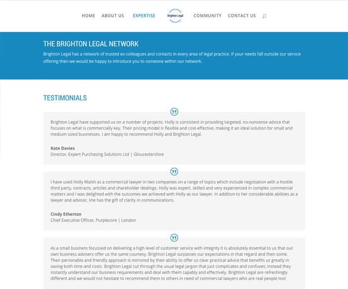 Brighton Legal testimonial page web design