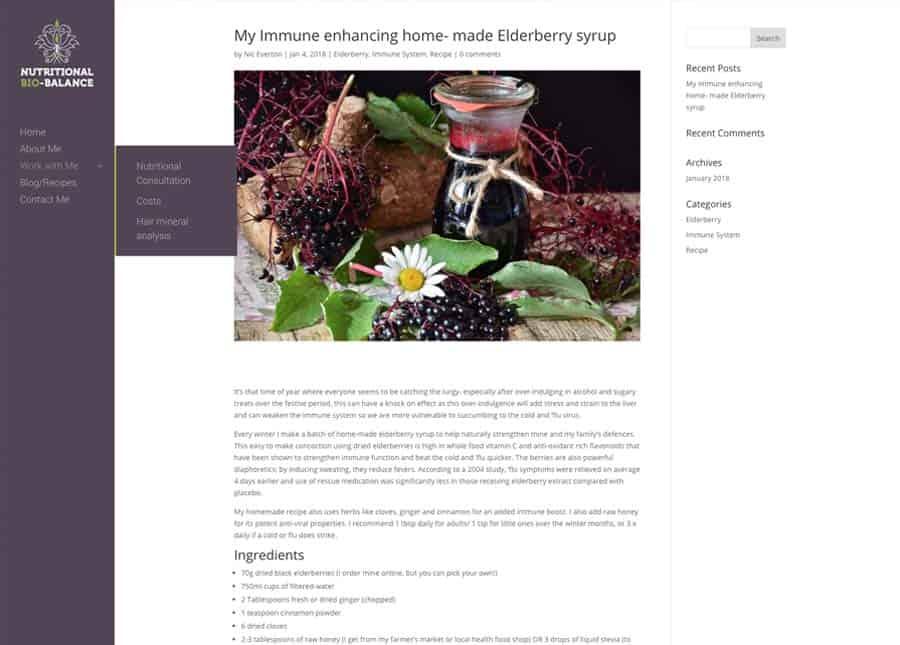 Nutritional Bio Balance | Blog page website design