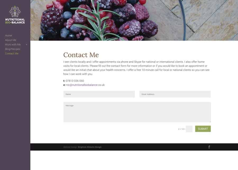 Nutritional Bio Balance | Contact page website design