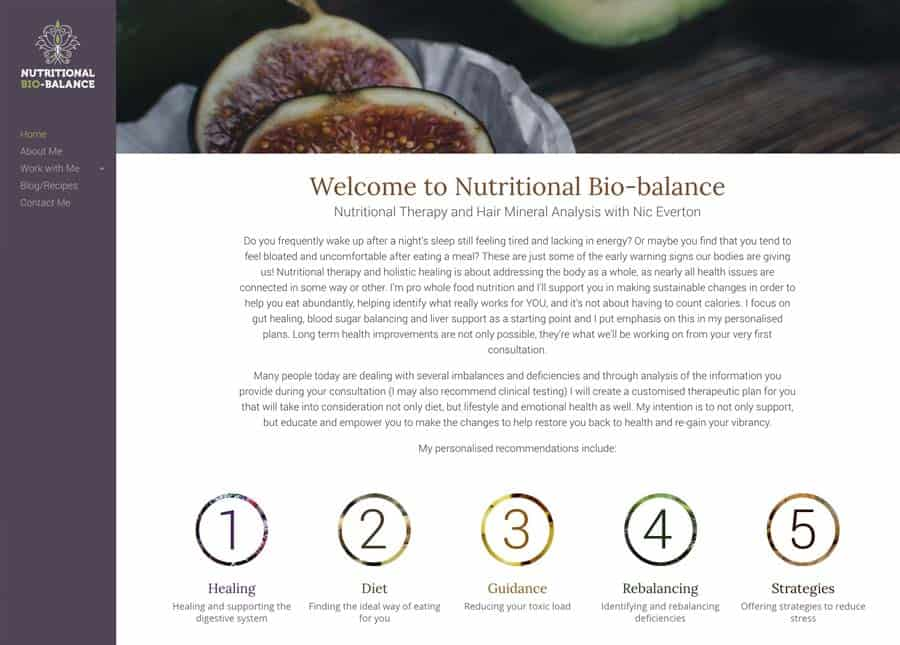 Nutritional Bio Balance | Home page website design