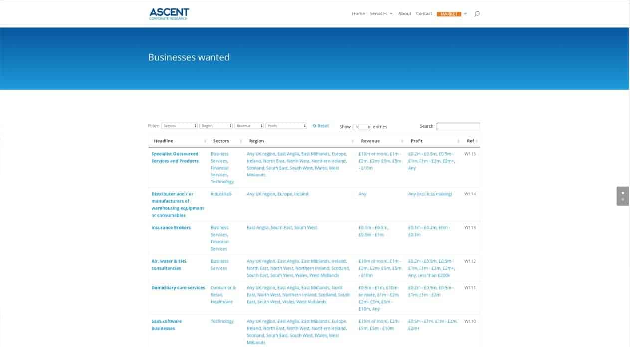 Ascent web design listings page