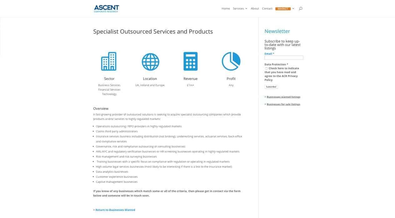 Ascent web design listing page