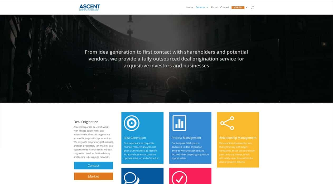 Ascent web design services page