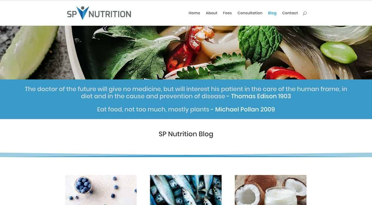 Sp Nutrition | web and logo design | blog