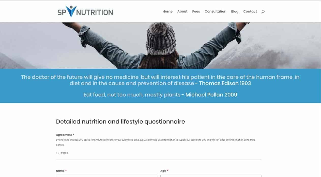 Sp Nutrition | web and logo design | form