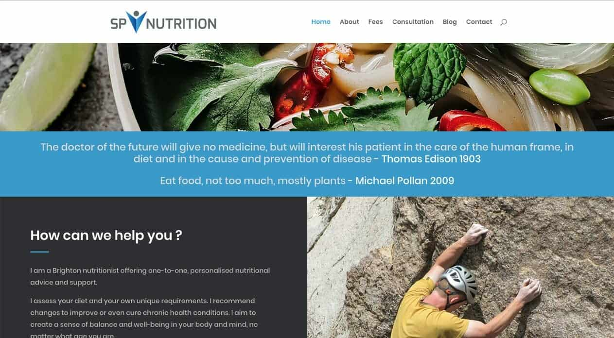 Sp Nutrition | web and logo design | home