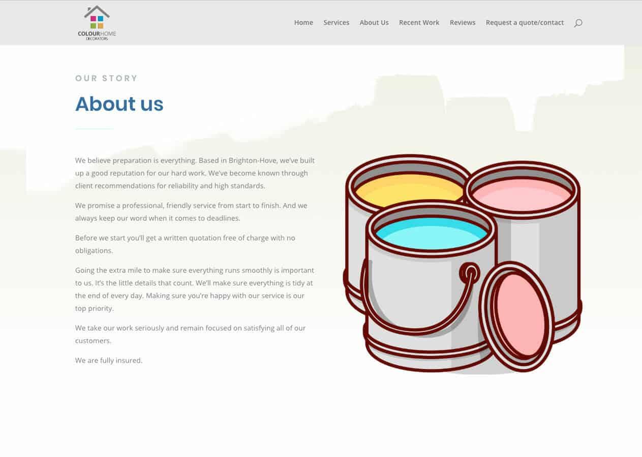 Colour Home Decorators contact page design