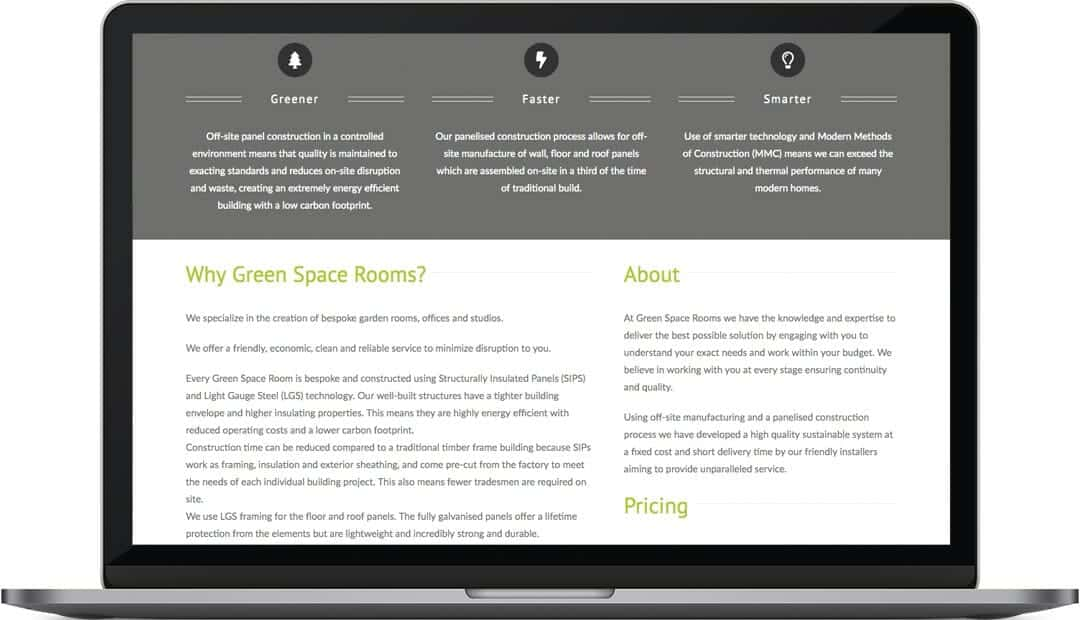 Green Space Rooms about page design