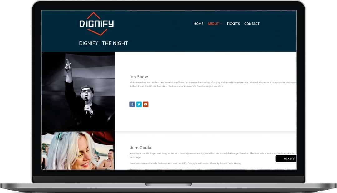 Dignify secondary home page design