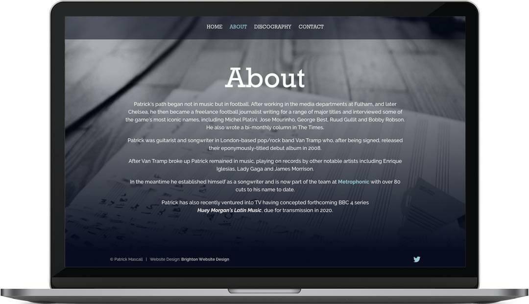 Patrick Mascall about page web design
