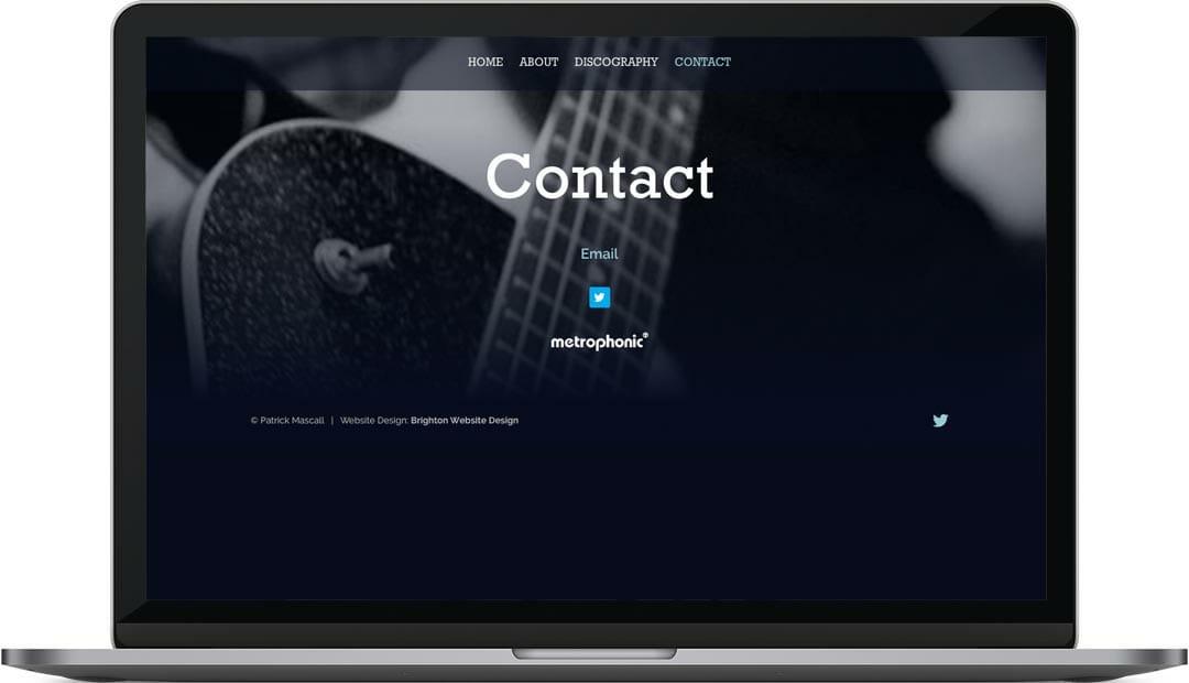 Patrick Mascall contact page web design