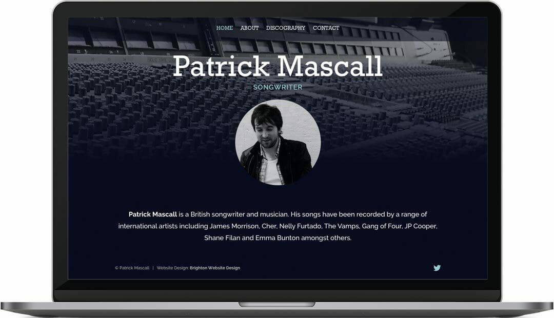 Patrick Mascall | Songwriter web design