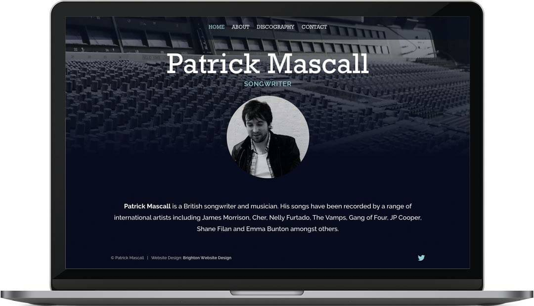 Patrick Mascall home page web design layout