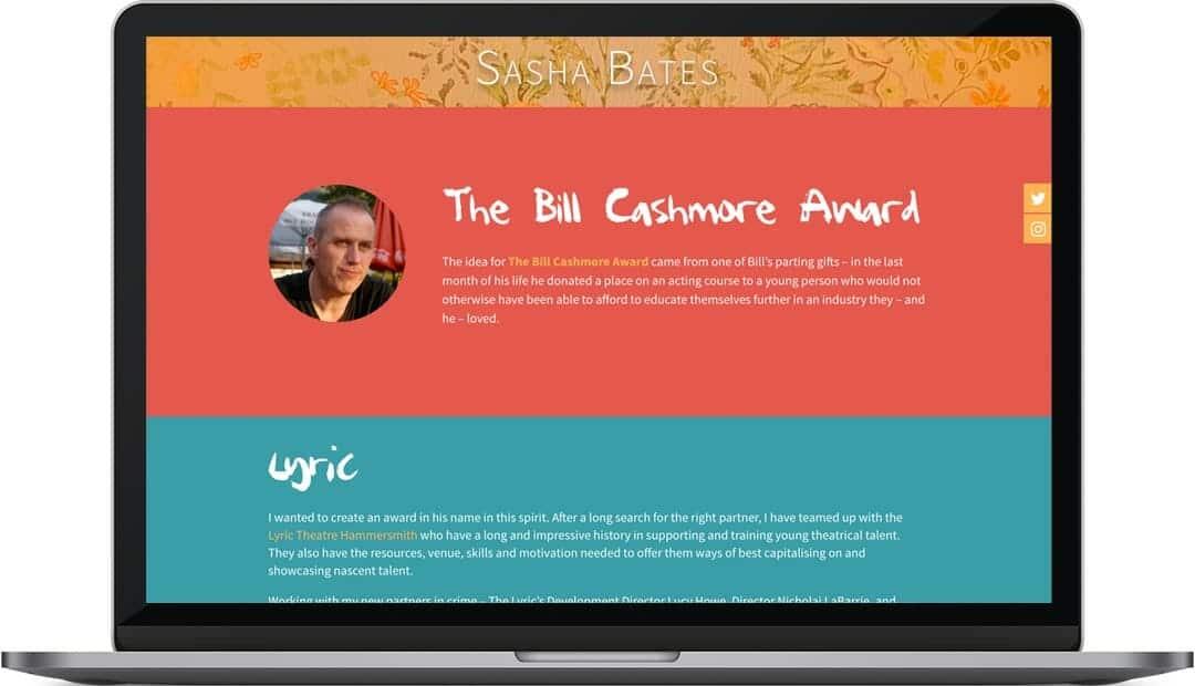 Sasha Bates Bill Cashmore page web design