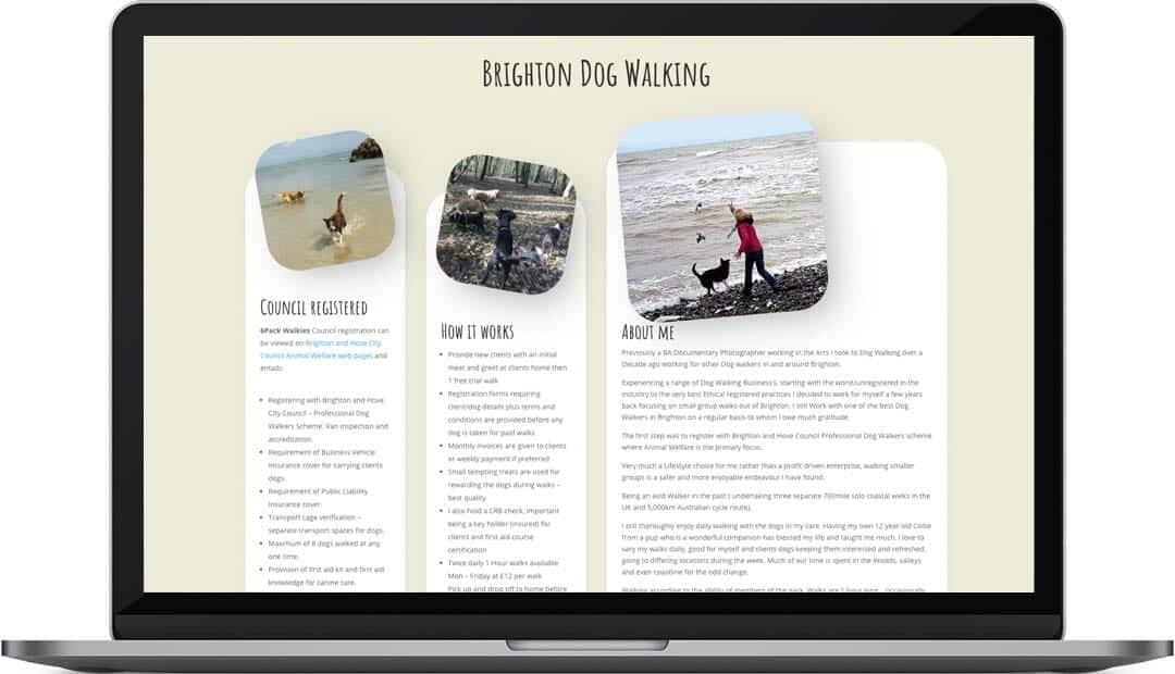 Brighton dog walking website design about