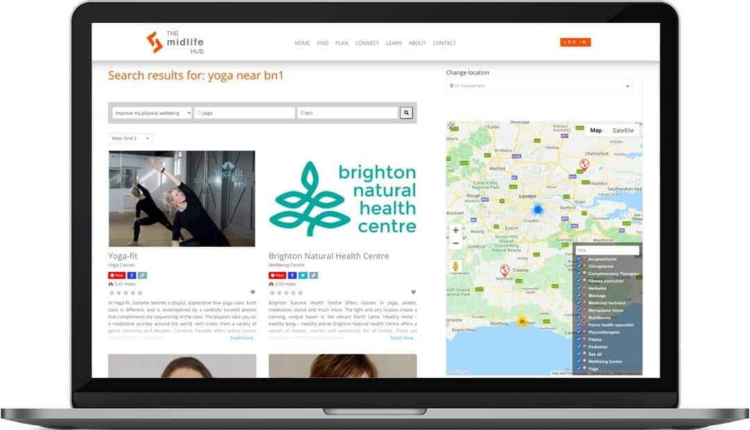 The Midlife Hub website design search results