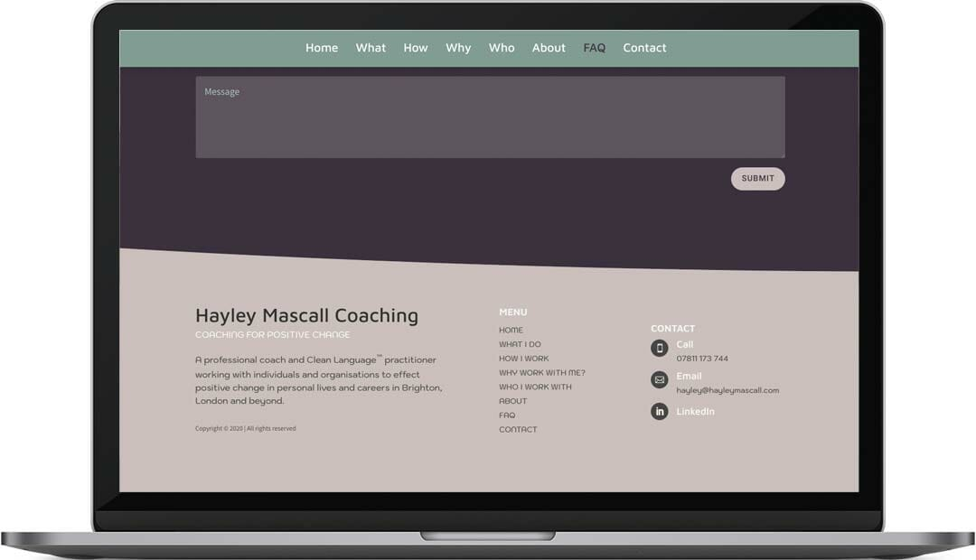 Hayley Mascall coaching web design footer