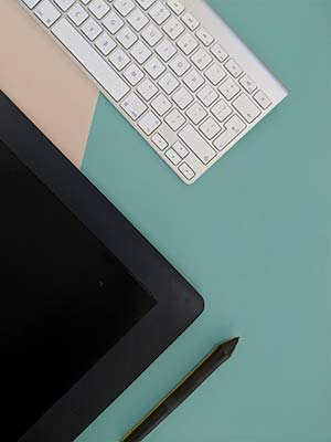 Tablet and keyboard web design