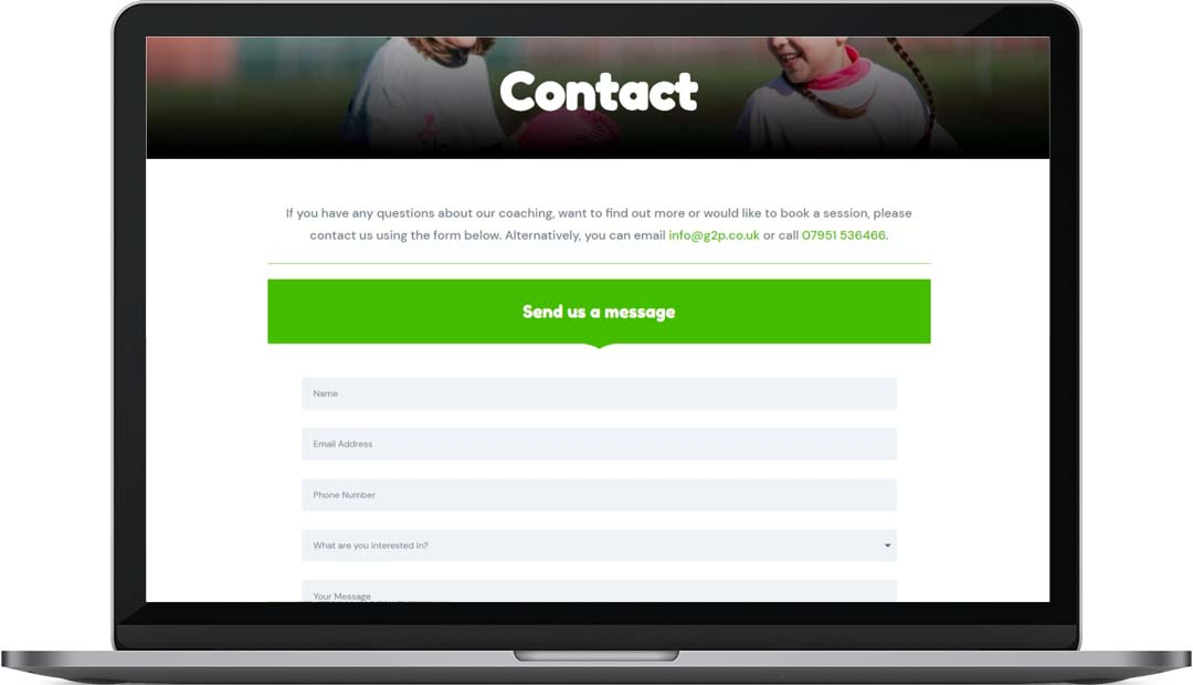 Grow2Perform Rugby Coaching Website Design Contact