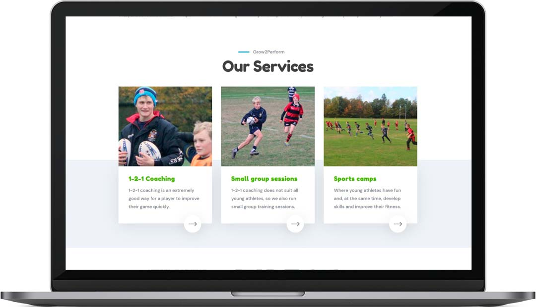 Grow2Perform Rugby Coaching Website Design Services
