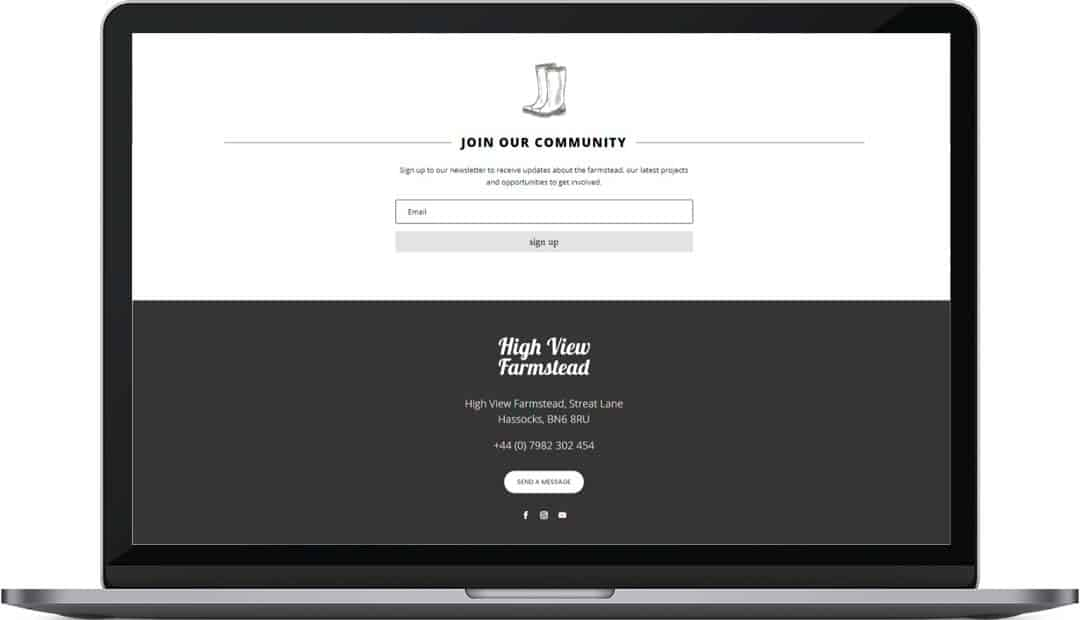 High View Farmstead web design footer