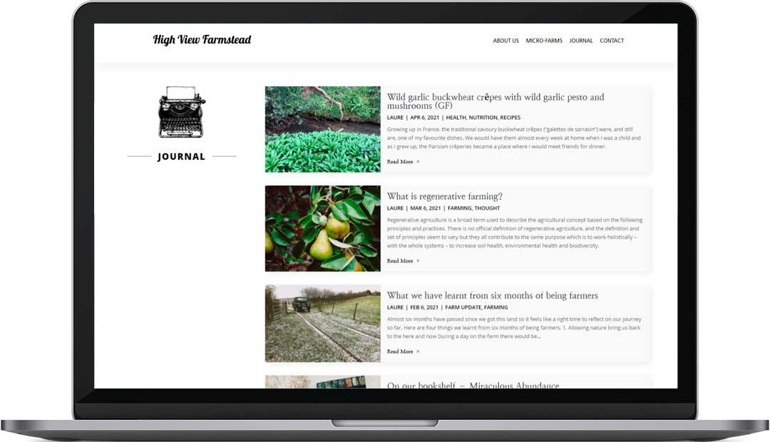 High View Farmstead web design Journal