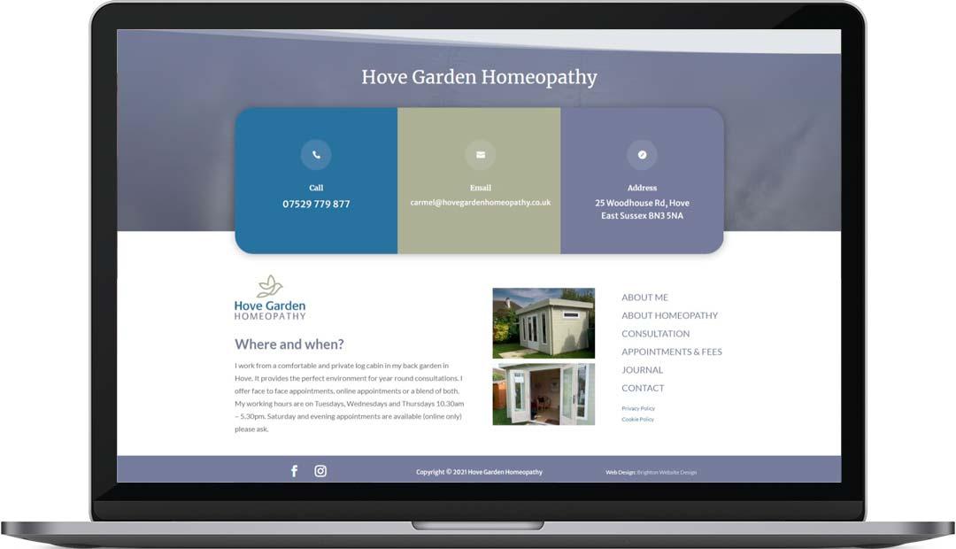 Hove Garden Homeopathy Web Design Footer